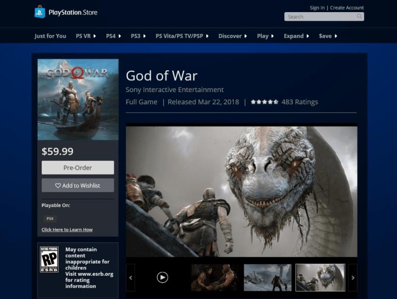 Habría filtrado la fecha de lanzamiento de God of War